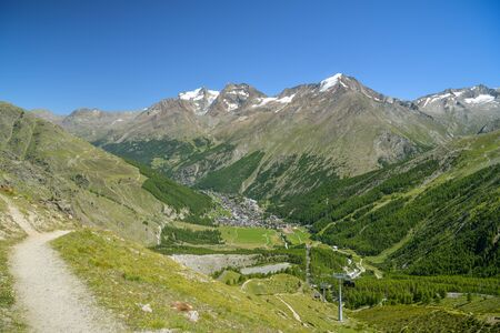 View on Saas-Fee village in Saas valley in southern part of Swiss Alps