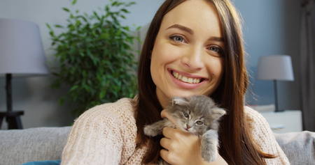 Portrait of a pretty young woman hugging a cute kitty and posing funny to the camera in the cozy room at home. Indoor