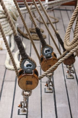 Tall ships rigging with winch and ropes