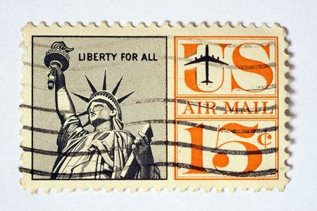 Vintage USA air mail postage stamp Stock Photo