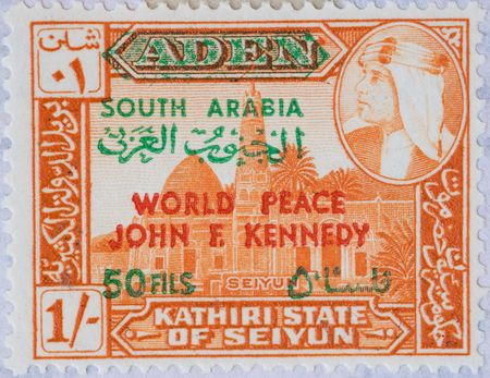 Vintage Aden  postage stamp with World Peace John F Kennedy franking Stock Photo