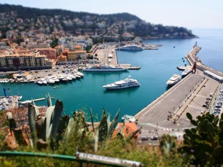 azur: Cote d Azur Nice port Stock Photo