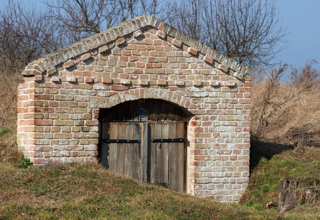 moravia: brick facade of the entrance to the wine cellar in South Moravia