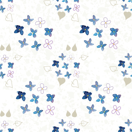 texturized: lilac watercolor  flower pattern on texturized background Stock Photo
