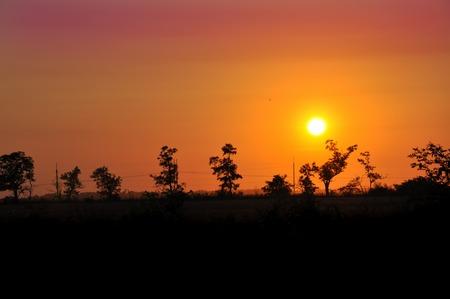 azov sea: sunset in the steppe of Ukraine near the Azov Sea Stock Photo