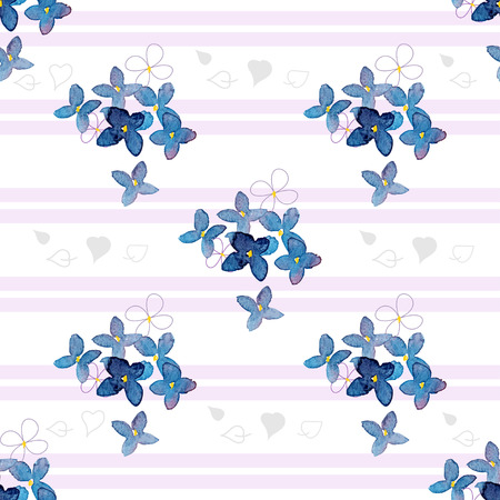 transparently: Watercolor lilac flowers on a striped background seamless pattern for paper and fabric design