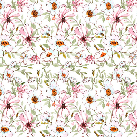 wild rose: watercolor seamless pattern honeysuckle and wild rose on white background
