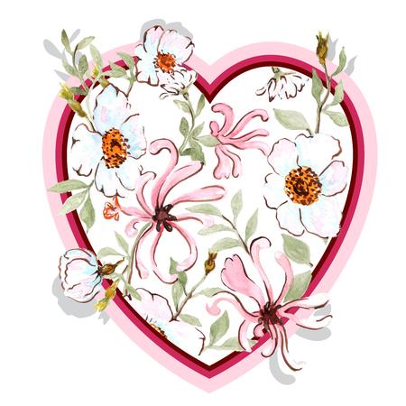 honeysuckle: honeysuckle and wild rose HEART postcard paper design Stock Photo