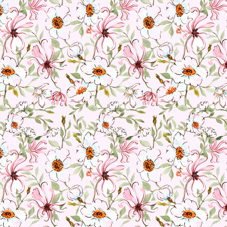honeysuckle: Seamless hand illustrated floral pattern on paper texture. Watercolor botanical background Stock Photo