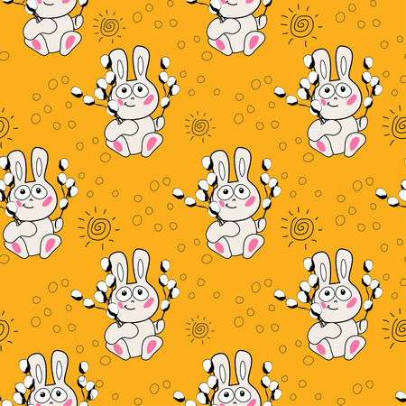 easter candle: little angel and easter bunny egg  candle and sun  seamless pattern