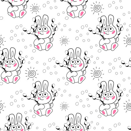 easter candle: little angel and easter bunny egg  candle and sun hand draw seamless pattern
