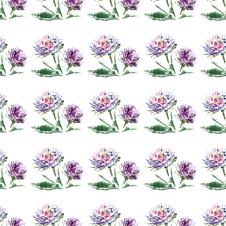 aster: Aster with leaves watercolor on the white background  floral seamless pattern