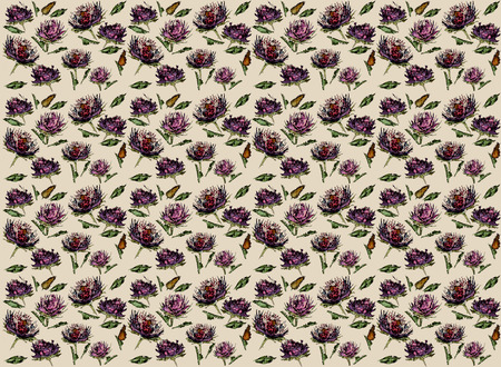 aster: Aster with leaves abstact watercolor on the beige background  floral seamless pattern Stock Photo