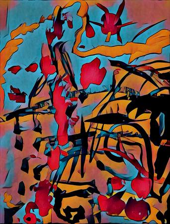 Abstract colorful acrilic painting for collage and design