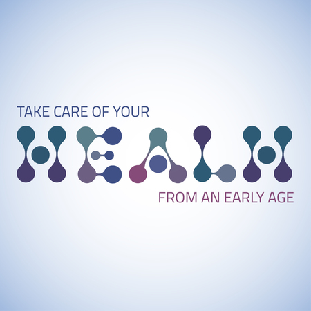 nformation: Take care of health motivation text banner for medical and other design