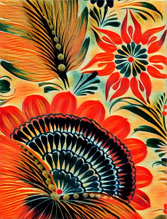 Petrikovskaya painting. Beautiful colorful painting flower with leaves. Traditional Ukrainian painting. Stock Photo