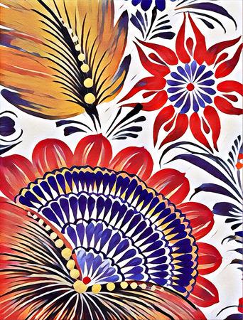 petrikovka: Petrikovskaya painting. Beautiful colorful painting flower with leaves. Traditional Ukrainian painting. Stock Photo