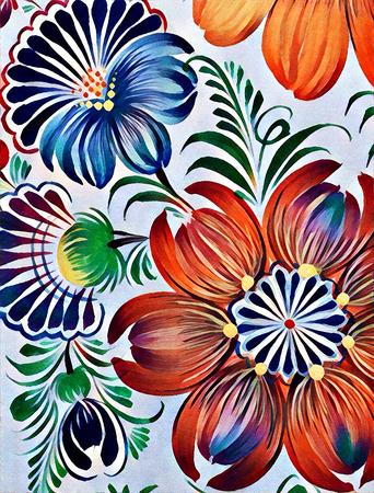 ukrainian traditional: Petrikovskaya painting. Beautiful colorful painting flower with leaves. Traditional Ukrainian painting. Stock Photo