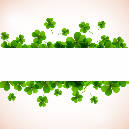 Fresh green leafs clover banners for paper and textile design