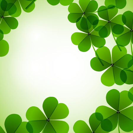 lightness: Fresh green leafs clover on a tender blurred background Stock Photo