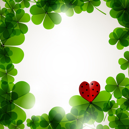 Fresh leafs clover on a tender blurred background for romantic paper and textile design