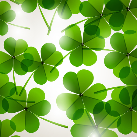 leafed: Fresh green leafs clover on a tender blurred background Stock Photo