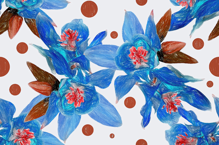 Floral seamless background imitation color pencil drawing