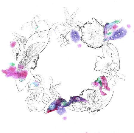 contoured: Fresh flower wreath with pencil contour and watercolor splash on white background for invitation design Stock Photo