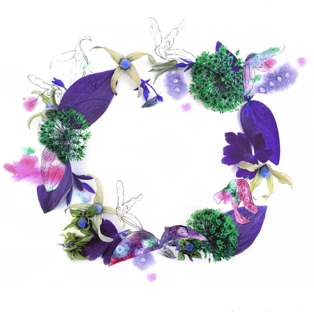 continue: Fresh flower wreath with pencil contour on white background for invitation design