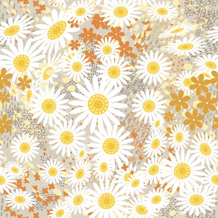 Daisy floral seamless pattern with strokes and dotted Illustration