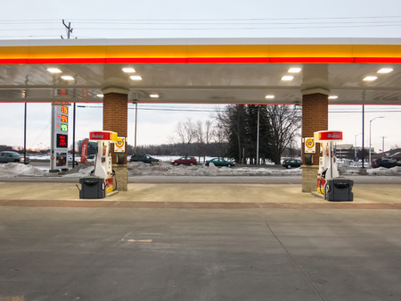 Two fuel dispensers at gas station