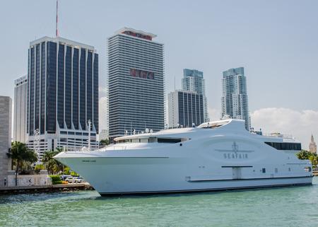 motor yacht: One cruise docked along the bay