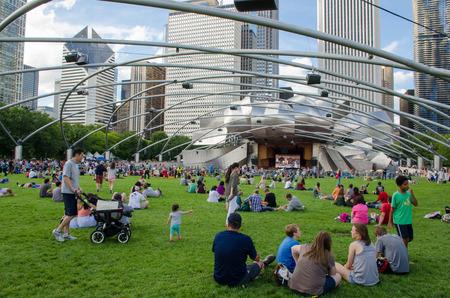 シカゴ アット ミレニアム パーク、ライブ コンサートを楽しむ人