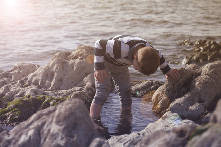 Boy Playing and Exploring in Tidal Pools Near the Ocean