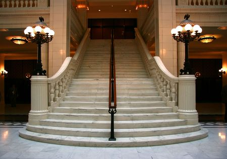 frontal view: Luxury large white marble staircase, frontal view