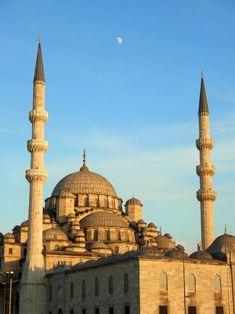 The New Mosque in Istanbul at sunset photo