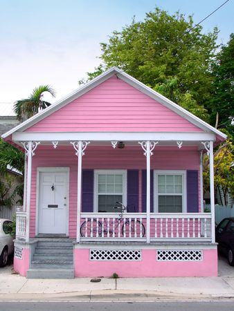 house roof: Small pink wooden house in Key West, Florida Stock Photo