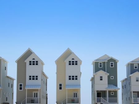 rowhouses: Pastel colored row houses in Florida Stock Photo