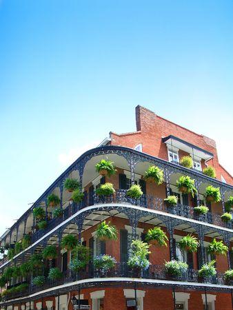 New Orleans Architektur, schmiedeeisernen Balkonen