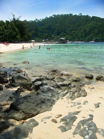 Pier and beach, islands near Kota Kinabalu, Sabah, Malaysia Stock Photo - 1335199