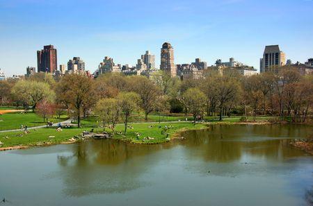 Turtle großen Teich und Liegewiese, Central Park, Manhattan, New York Lizenzfreie Bilder