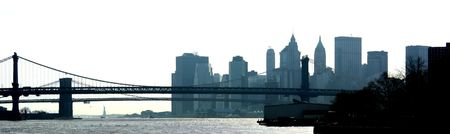 Bridges over East river and lower Manhattan, financial district, New York Stock Photo - 1335150