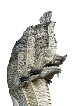 Multi headed dragon stone statue, Chiang Mai, Thailand. Grey, isolated on white Stock Photo - 1342887