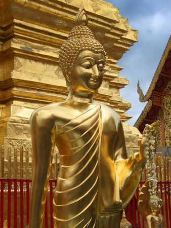doi: Golden statue in Doi Sutep Temple, Chiang Mai, Thailand Stock Photo
