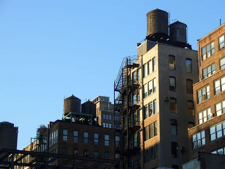 Rooftop water tanks, Manhattan, New York Stock Photo - 1342881
