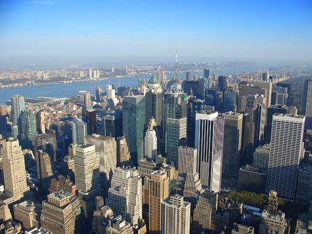 View over north west Manhattan, New Jersey, Hudson river from Empire State building in the morning, New York