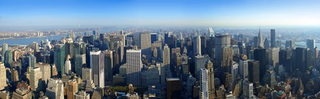 Aerial panoramic north view over upper Manhattan from Empire State building top, New York