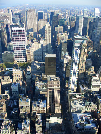 bryant: 5th avenue and Bryant Park aerial view from Empire State building in the morning, Manhattan, New York Stock Photo