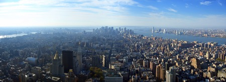 Aerial panoramic view over lower Manhattan from Empire State building top, New York Stock Photo - 1385398