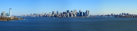 boroughs: Panoramic view of lower Manhattan from Statue of Liberty, New York